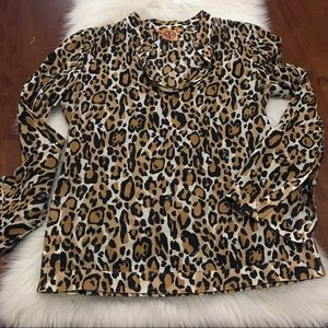 Tory Burch Leopard Print Top with Sequins Size 4